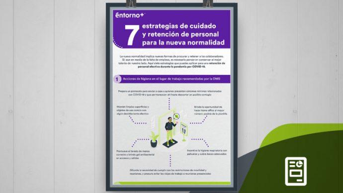 infografía con 7 estrategias para la retención de personal